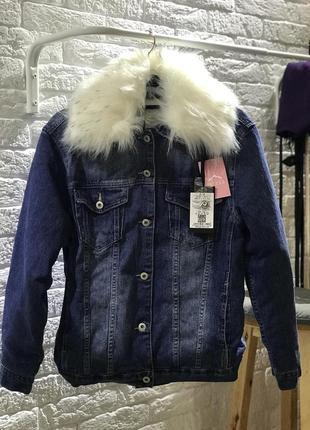 "Джинсовка, стильна утеплена джинсова курточка, оверсайз, єврозима, ""glo-story"""