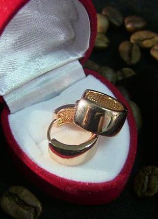 Сережки,розмір 15х8мм,позолота 14к,медицинское золото/медичне золото