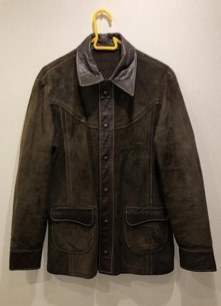 Замшевая куртка-пиджак коричневого цвета {замш кожа{натуральные}}
