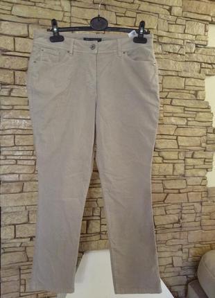 Пудровые,нюдовые микровельветовые укороченные брюки 46-48 р