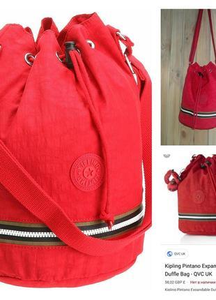 Kipling брендовая красная сумка- мешок.