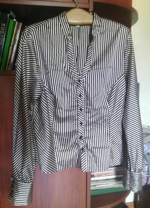 В наличии iren klairie блуза вискоза + шелк в полоску рубашка в офис