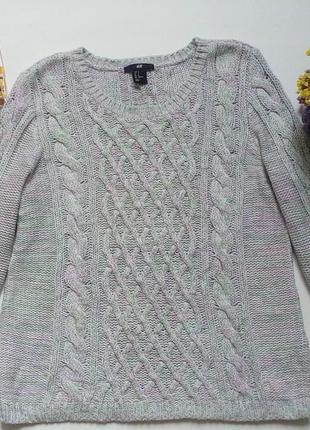 Кофта,свитер меланж в косы,свитерок вязанный