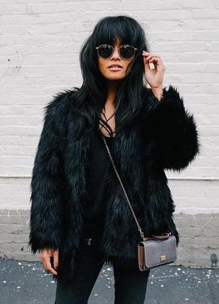 Черная шуба шубка пальто жакет куртка из искусственного меха
