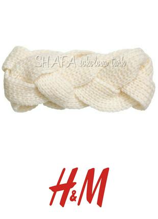 Повязка на голову вязаная косой мохер шерсть и акрил от h&m