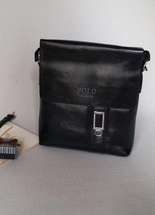 Стильная мужская черная сумка polo в наличии