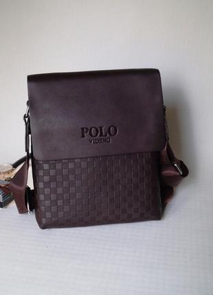 Распродажа мужская сумка через плечо поло polo коричневый