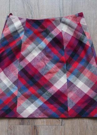Мини-юбка в ромб с посадкой на талии