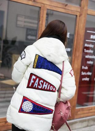 Пуховик белый,молочная пальто с нашивками, с капюшоном, зимняя куртка с,м,л
