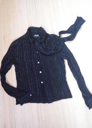 Чёрная шёлковая блуза с люрексом miss dior