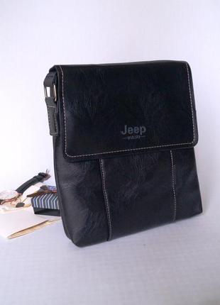 Стильная мужская сумка jeep черный цвет