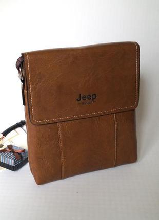 Стильная мужская сумка jeep светло коричневый