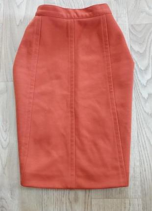 Оранжевая юбка карандаш теплая