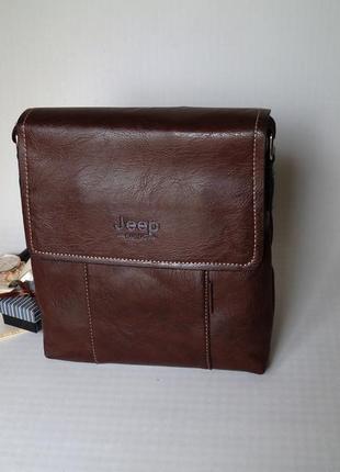 Стильная мужская сумка jeep коричневый