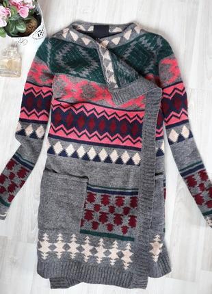 Теплый, шерстяной кардиган, накидка, свитер