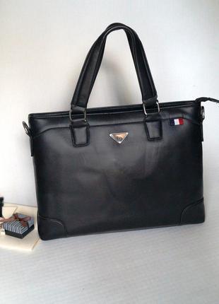 Стильный кожаный черный портфель