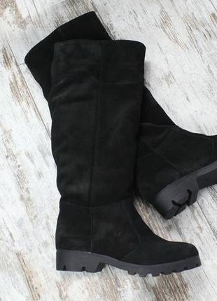 36-41 рр деми / зима сапоги ботфорты черные натуральная кожа, замша2