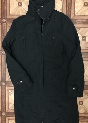 Зимнее черное пальто / черная парка