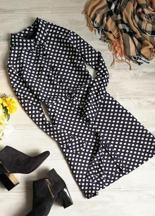 Платье-рубашка в горошек в145553 topshop размер uk10/38 (s/m)