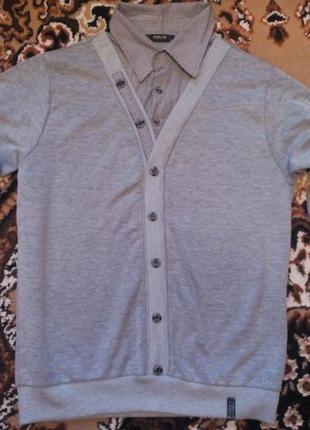Стильный мужской пуловер с рубашкой-обманкой