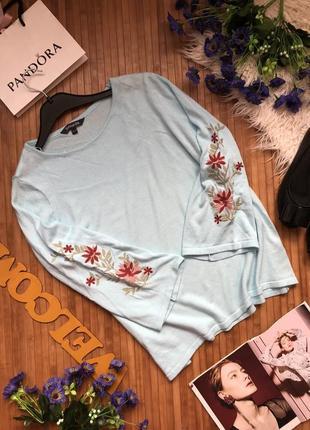 Шикарный джемпер с вышивкой на рукавах16-18