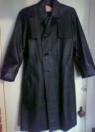 Модный. новый. акция. кожаный плащ мужской 46-52р чёрный. цена снижена