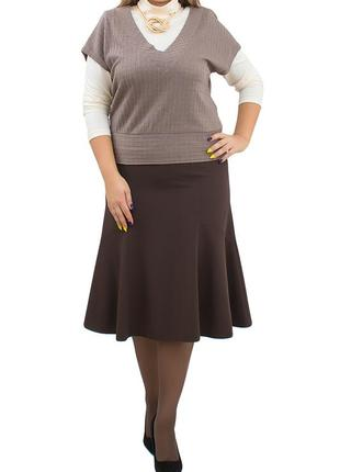 Шикарная коричневая юбка годе uk14-16. франция