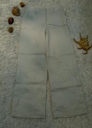 Льняные свободные брюки натурального цвета