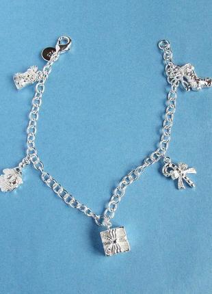 Новогодний браслет с подвесками в серебре 925, новый! арт.109514