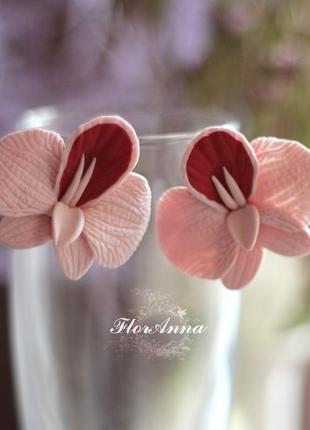 Серьги орхидеи из полимерной глины