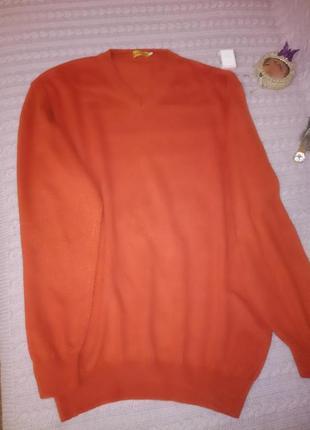 Оранжевый мужской кашемировый свитер larusso, р.xl