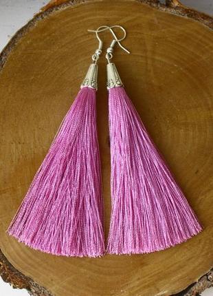 Серьги серёжки кисти кисточки розовые нити длинные модные бохо