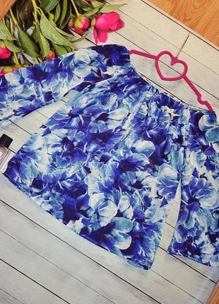 Шикарная блуза с открытыми плечами в цветы
