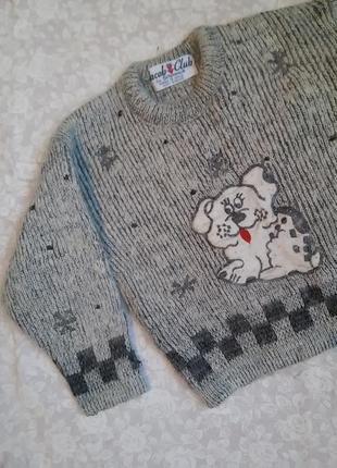 Теплый зимний свитер ангора с щенком собачкой 4-5 лет вязаный шерстяной пуловер джемпер