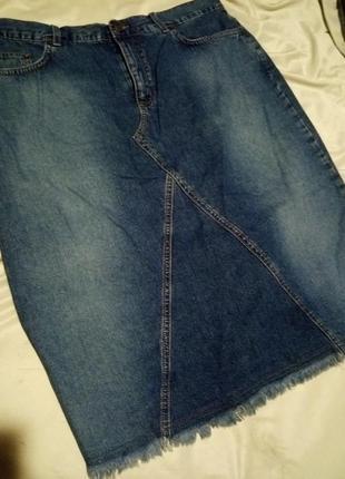 Джинсовая юбка бахрома миди
