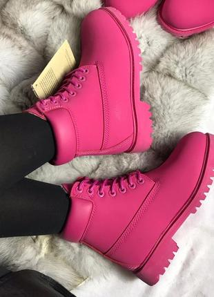 Ярко-розовые, фуксия женские зимние ботинки