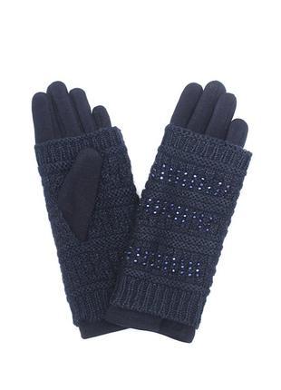 Женские перчатки темно-синего цвета s- m- l