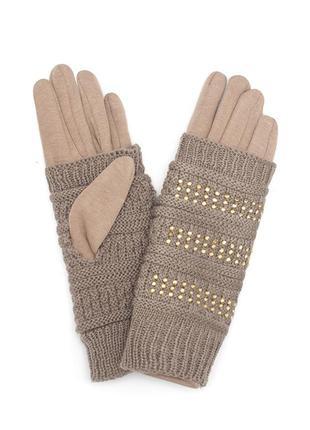 Женские перчатки  темно-бежевого цвета