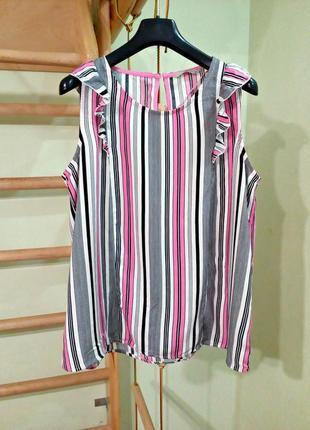 Актуальная легкая вискозная блуза в полоску 14-16