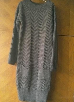 Новое теплое вязаное платье trikobakh, 50-52