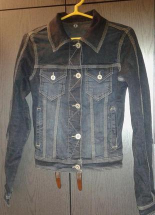 Стильная джинсовая куртка темно-синего цвета , favourite denim, р. 34/s.