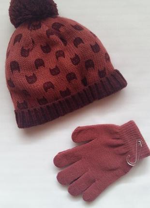 Комплект: шапка и перчатки kiabi (франция) на 4-5 лет