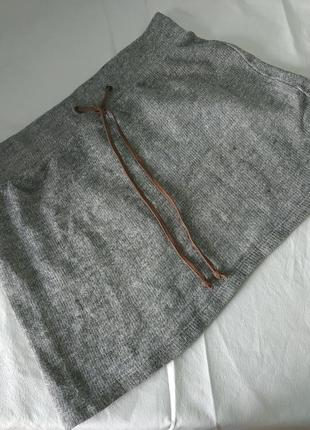 Серая  утепленная юбка трапеция, турция, 100 коттон