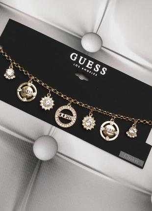 Guess оригинал стильный золотой чокер ожерелье с лого и стразами из сша