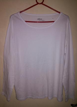 Натуральный,белоснежный лонгслив-реглан,больш.разм.,ellos и 90%одежды батал