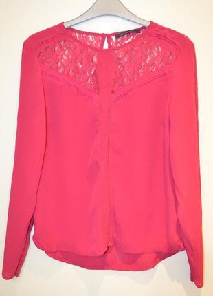 Стильная малиновая вискозная блуза, 10 размер