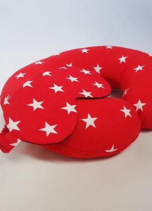 Двухсторонняя дорожная подушка на шею из плюша и хлопка - звезды
