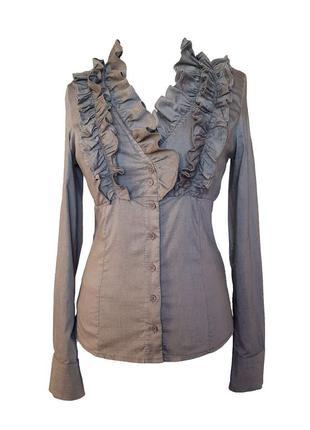 Блузка с рюшами с длинным рукавом