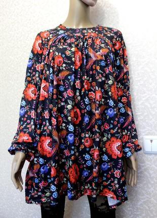 Шикарная туника блуза в петрековский принт