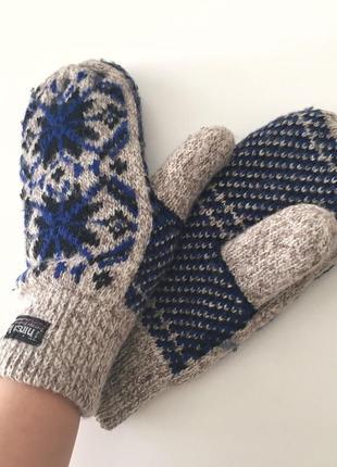 Женские зимние шерстяные перчатки варежки с красивым принтом